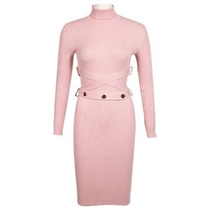 Ribbed Knit Belted Mid-Length Dress.